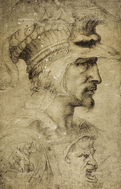 Head of a warrior, drawing by the School of Michelangelo, British Museum, London