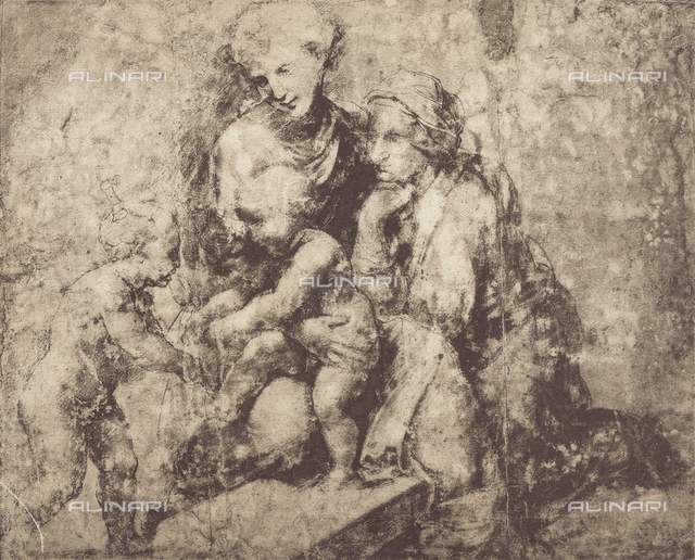 Madonna and Child, Saint Anne and the infant St. John, drawing; British Museum, London