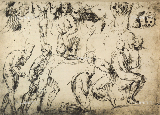 Study of masculine nudes, School of Raphael, British Museum, London