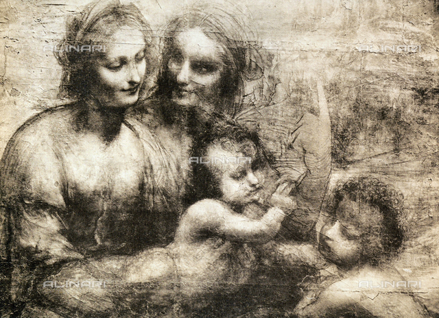 The Virgin and Child with Saint Anne and the Young Saint John the Baptist, chiaroscuro drawing on cardboard, housed in the Royal Academy in London