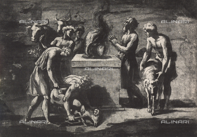 Study for the sacrifice of Noah; drawing by Raphael, Graphische Sammlung, Albertina, Vienna