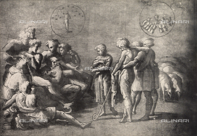 Joseph Relating His Dream to His Brothers, study for the fresco in the Vatican Logge; drawing by Raphael, Graphische Sammlung, Albertina Gallery, Vienna