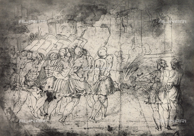 The destruction of the walls of Jericho; drawing by Raphael, Graphische Sammlung, Albertina, Vienna