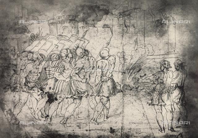 The destruction of the walls of Jericho; drawing by Raphael, Graphische Sammlung, Albertina, Vienna