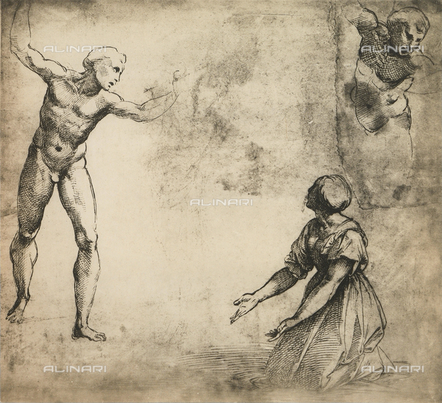 Study for the Massacre of the Innocents; drawing by Raphael, Graphische Sammlung, Albertina, Vienna
