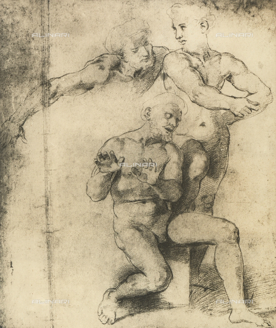 Study for three apostles of the Transfiguration of Christ, Graphische Sammlung, Albertina, Vienna