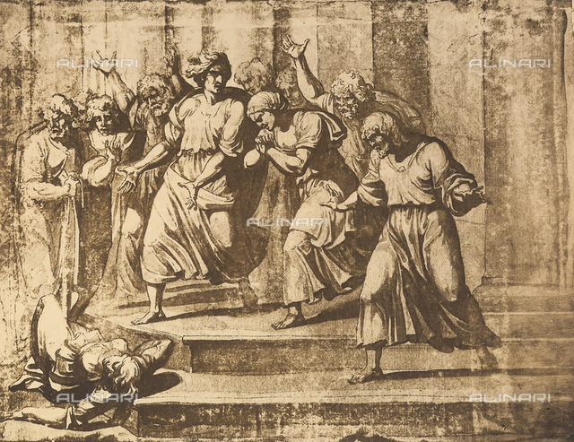 The wife of Ananias dead on the steps of the Temple, Graphische Sammlung, Albertina, Vienna