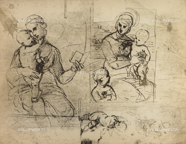 Two studies of the Madonna and Child, Graphische Sammlung Albertina, Vienna