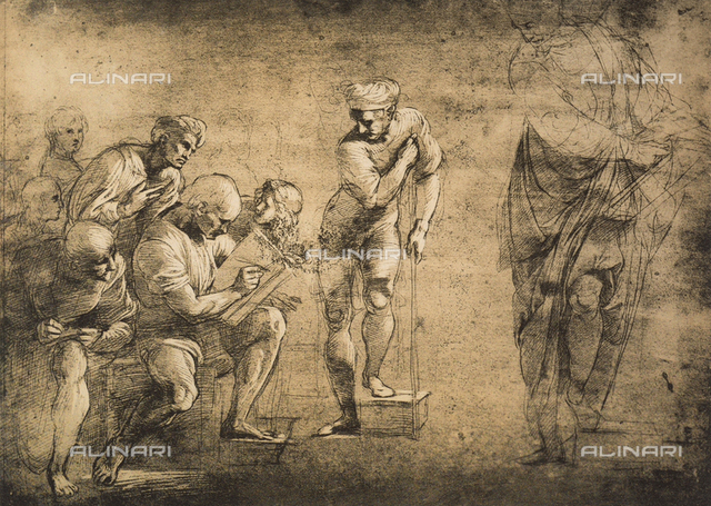 Study for the School of Athens; drawing by Raphael, Graphische Sammlung Albertina, Vienna