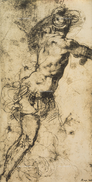 Study for a warrior seen from the rear; drawing by Raphael, Graphische Sammlung Albertina, Vienna