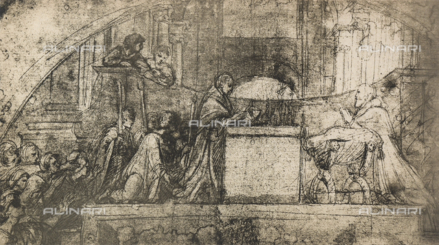 Preparatory study for the fresco with the mass of Bolsena; drawing by Raphael, Albertina, Vienna
