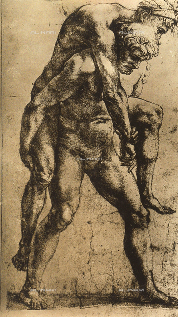 Aeneas carrying his father Anchises on his shoulders; preparatory study for the frescoes in the Incendio Room. Drawing by Raphael in the Albertina Gallery in Vienna