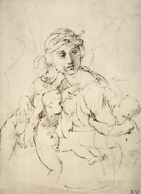 Charity; drawing by Raphael, Graphische Sammlung, Albertina, Vienna