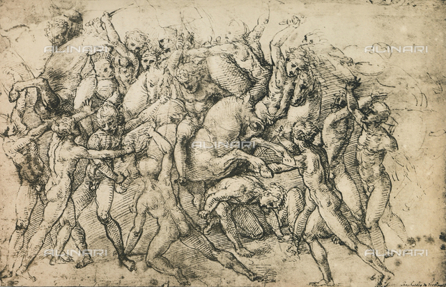 Cavaliers in combat; drawing by Raphael, Graphische Sammlung, Albertina, Vienna
