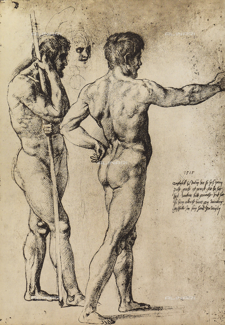 Two nude men standing, Graphische Sammlung, Albertina, Vienna