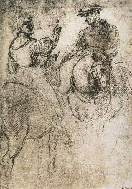 Two cavaliers; drawing by Raphael, Graphische Sammlung, Albertina, Vienna