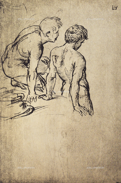 Two nude youth, rear view, Graphische Sammlung, Albertina, Vienna