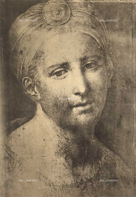 Head of a young woman; drawing by Raphael, Graphische Sammlung, Albertina, Vienna