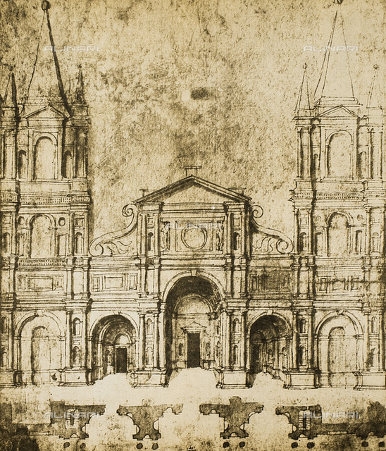 Project for the facade of a church; drawing by Raphael, Graphische Sammlung, Albertina, Vienna