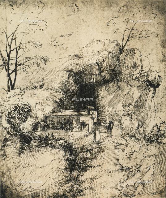 Landscape with monastery; drawing by Raphael. Graphische Sammlung Albertina, Vienna