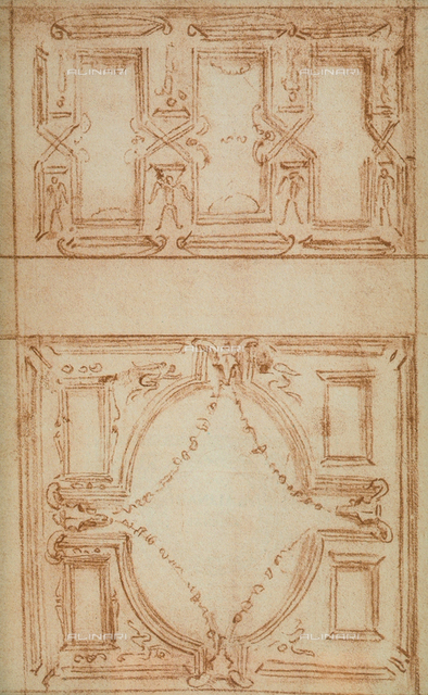 Architectonic sketch; drawing by Michelangelo, Casa Buonarroti, Florence
