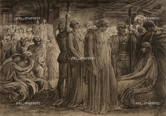 The Divine Comedy by Dante Alighieri illustrated by italian artists edited by Vittorio Alinari. Panel depicting souls in Limbo from canto IV of the Inferno