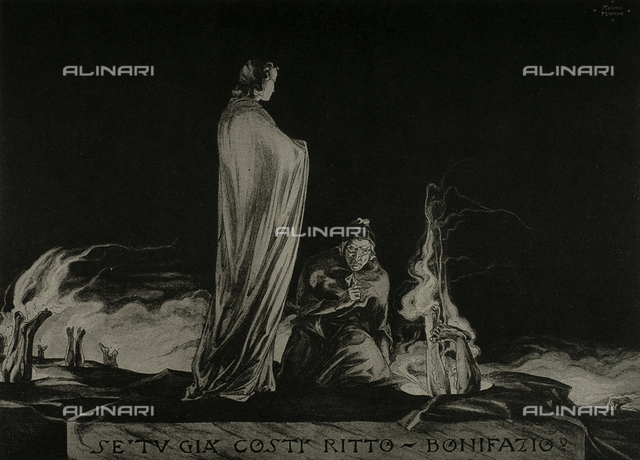 The Divine Comedy by Dante Alighieri illustrated by italian artists and edited by Vittorio Alinari. Panel representing Dante and Virgil amongst the Simonists in canto XIX of the Inferno