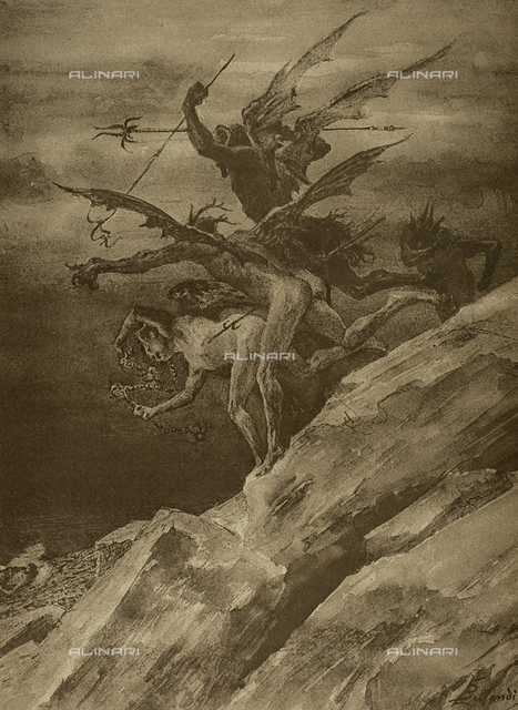 The Divine Comedy by Dante Alighieri illustrated by italian artists and edited by Vittorio Alianari. Panel representing Ciampolo pursued by devils in canto XXIII of the Inferno