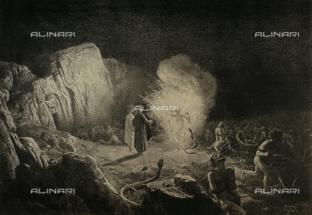 The Divine Comedy by Dante Alighieri illustrated by italian artists and edited by Vittorio Alinari. Panel representing Dante and Virgil amongst the thieves from canto XXIV of the Inferno