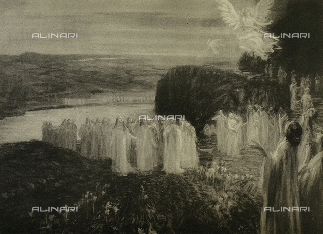 The Divine Comedy by Dante Alighieri illustrated by italian artists edited by Vittorio Alinari. Panel portraying the souls populating canto VIII of Purgatory