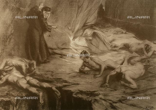 The Divine Comedy by Dante Alighieri illustrated by italian artists edited by Vittorio Alinari. Panel portraying Dante amongst the avaricious and prodigal who are lying with their faces to the ground, in canto XX of Purgatory