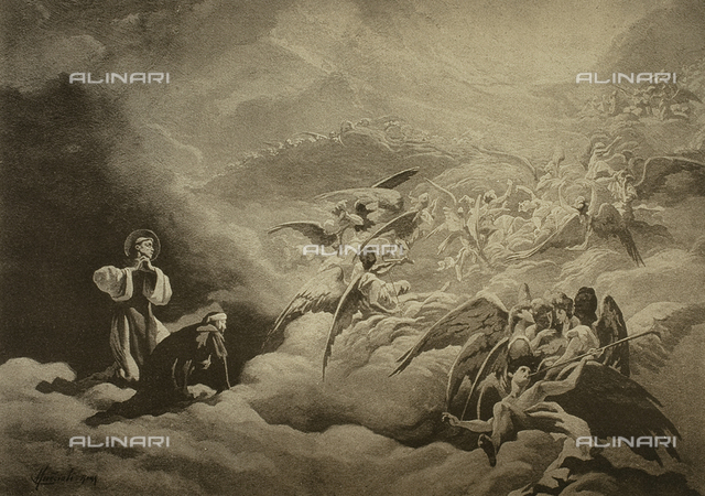 The Divine Comedy by Dante Alighieri illustrated by italian artists edited by Vittorio Alinari. Panel portraying Dante and St Bernardo in canto XXXI of Paradise