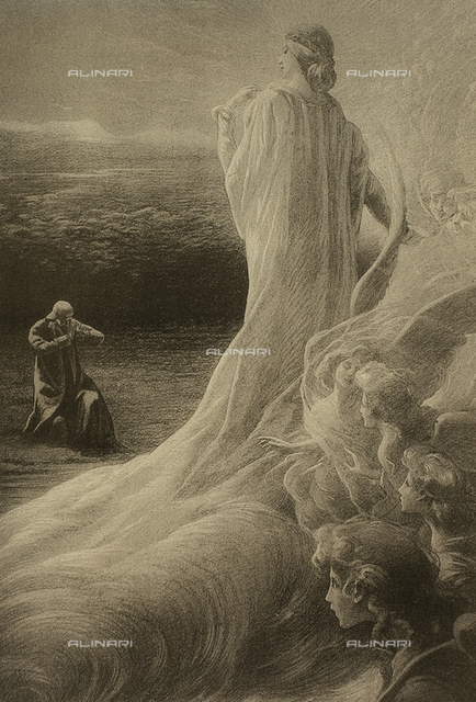 The Divine Comedy of Dante Alighieri illustrated by Italian artists and edited by Vittorio Alinari. Painting depicting the apparition of Beatrice before Dante, canto XXX, Purgatory; work by Carlo Muccioli.