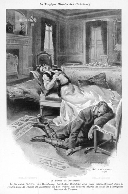 Crown Prince archduke Rudolf  kills himself and his  mistress, baroness Vetsera, in  hunting lodge at Mayerling       Date: 1889    Source: Atamian in Je Sais tout 15 January 1907 page 619