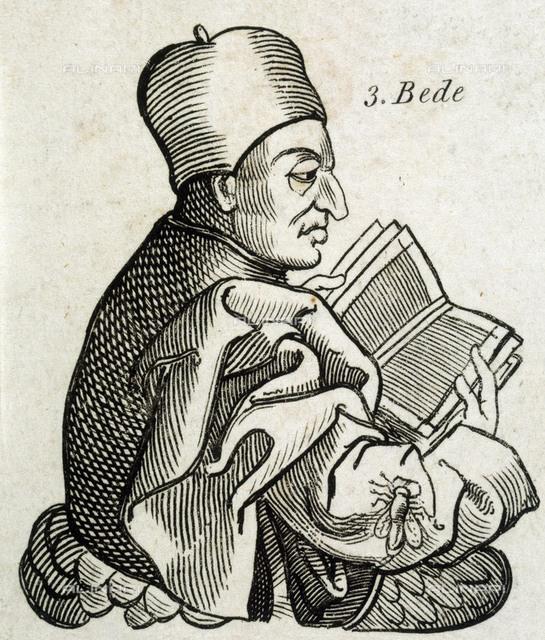 SAINT BEDE THE VENERABLE  Anglo-saxon scholar, historian  and theologian       Date: 672 OR 673 - 735  Andre Thevet Les Vrais Portraits Et Vies Des Hommes Illustres 1584