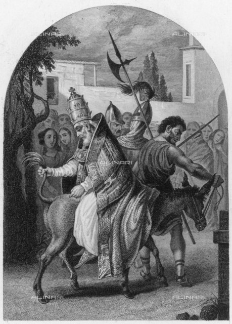 ANTI-POPE JOANNES XVI  humiliated by his rival,  pope Gregorius V, who was not  strong on Christian  forgiveness     Date: reigned 997 - 998  Bourdet in 'Histoire des Papes' (circa 1840)