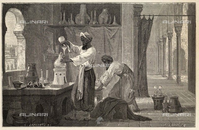 Abu Bakr Muhammad ibn Zakariya RAZI, known as RHAZES in the  west : Persian physician and  chemist, leader of Islamic  medicine, here depicted in  his laboratory at Baghdad     Date: 852 - 932