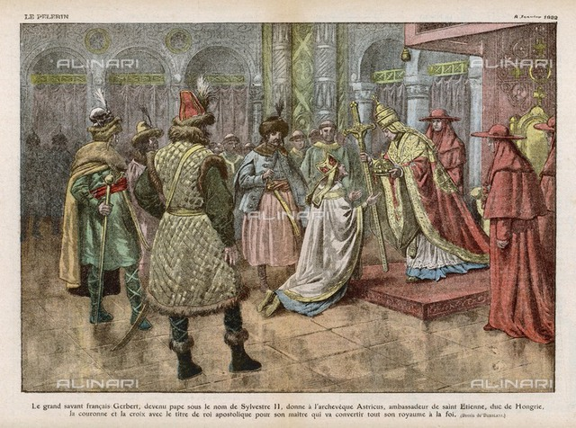 Istvan I (Saint Stephen),  converts the Magyars to  Christianity : his envoy the  archbishop Astricius obtains  from pope Silvester II the  title of 'Apostolic King'     Date: 997  Engraving by Cheesman after a drawing by Holbein