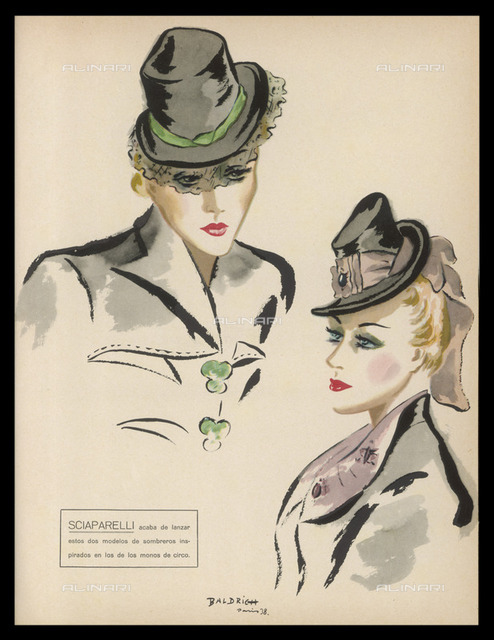 Two hat designs by the  eccentric and inventive  Elsa Schiaparelli  (Sciaparelli). One has a large  pink hat-band, the other a  short black veil.     Date: 1938
