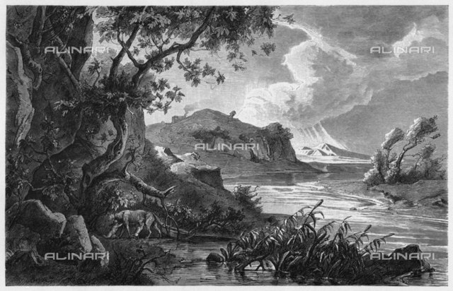 Roman foundation myth: the  babies are succoured by a wolf  in the wilderness.        Date: 753 BC  Engraving from the Illustrated Times 1864 from a sketch by M Cazauli