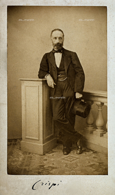 Full-length portrait of the deputy Francesco Crispi