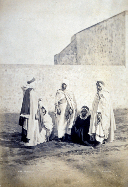 Portrait of a group of Arabs in traditional clothes