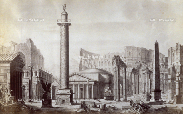 Reproduction of a work portraying Roman ruins and antiquity, amongst which Trajan's Column and the Colosseum