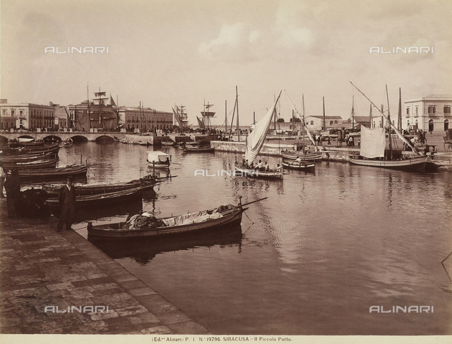 The small port of Syracuse, Sicily