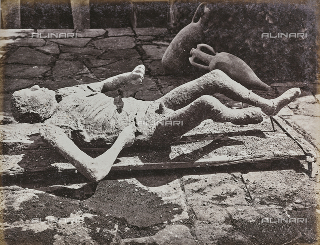 Cast of a victim of the eruption of Vesuvius in 79 AD discovered in the ruins of Pompeii