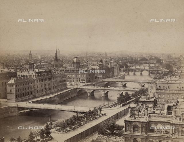 View of Paris with the Hotel de Ville not yet rebuilt.