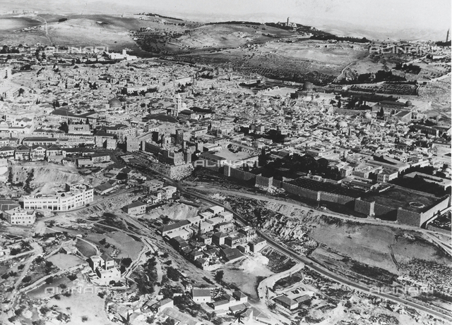 Aerial view of the ancient city of Jerusalem.