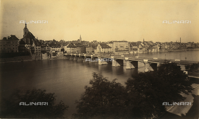 View of the city of Basel. Close up the Rhine, the river which cross the city