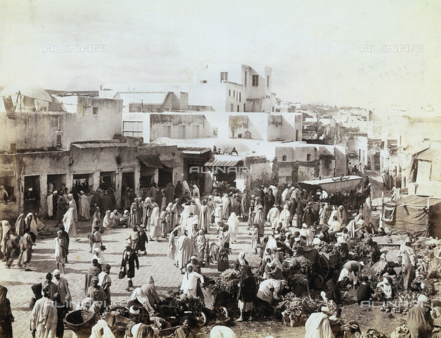 People of Tunis in a city square, used for the market