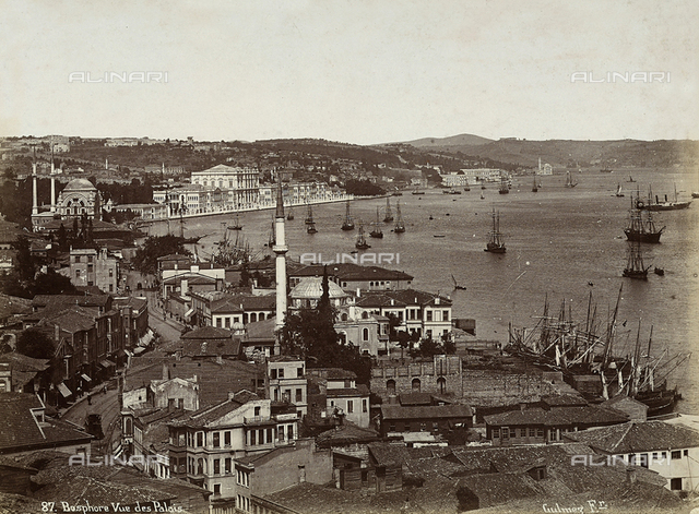 View of the city of Constantinople, with buildings facing onto the Bosporus